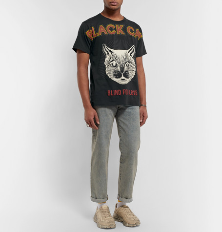 55cd8761 Gucci black cat T-shirt. 6. Product image Product celebrity wearing image