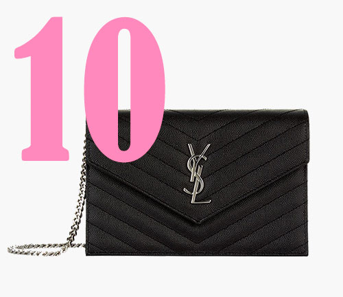 Borsa a tracolla in pelle con catena Saint Laurent monogram